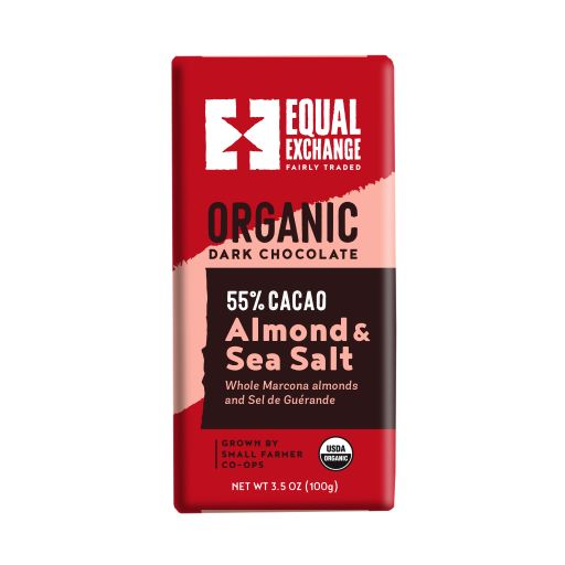 Equal Exchange Organic Dark Chocolate Bar with Almonds & Sea Salt
