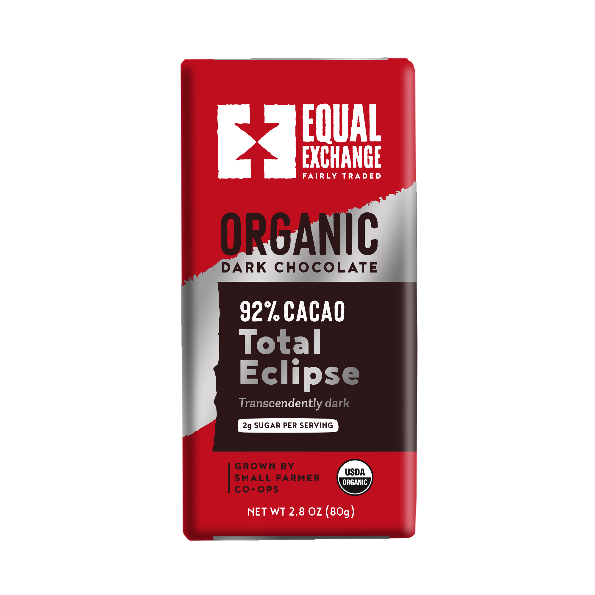 Equal Exchange Organic Total Eclipse Dark Chocolate Bar, 92% Cacao