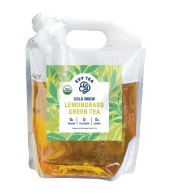 Evy Tea Organic Cold Brew Green Tea Lemongrass, Unsweetened, Half Gallon