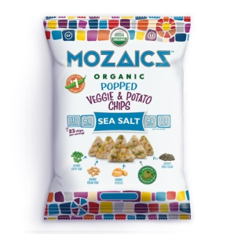 Mozaics Organic Popped Veggie & Potato Chips, Sea Salt