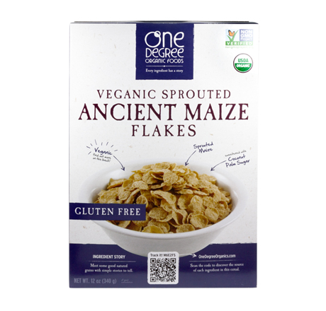 One Degree Organic Veganic Sprouted Cereal - Ancient Maize Flakes