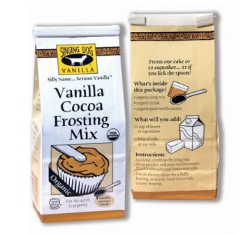 Singing Dog Vanilla Organic Vanilla Cocoa Frosting Mix, 2-pack