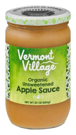 Vermont Village Organic Unsweetened Apple Sauce, 24 oz jar