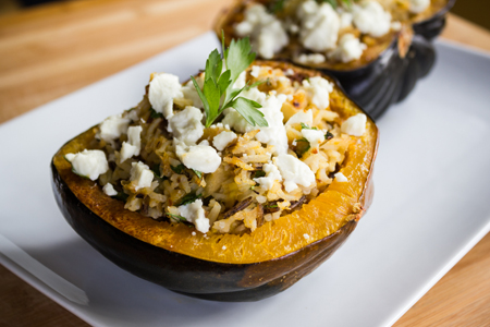 Acorn Squash Stuffed with Rice, Apples and Chevre