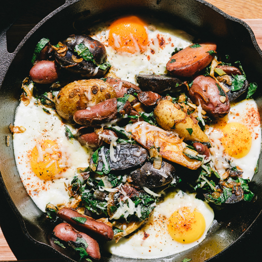 Fingerling Potato Hash with Swiss Chard and Eggs