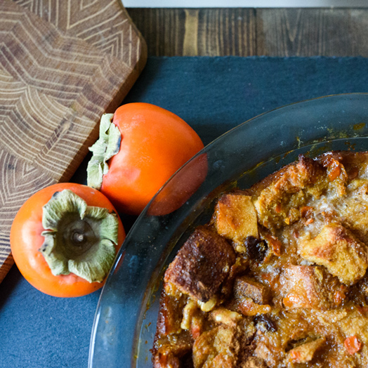 Persimmon Bread Pudding