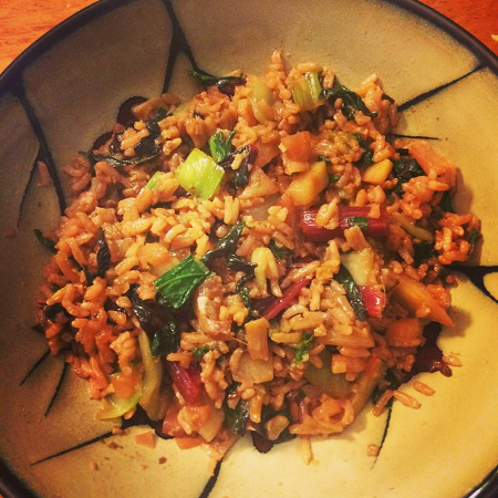Kohlrabi and Bok Choy Fried Rice with Fried Garlic