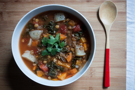 Lentil Soup with Carrots, Turnips, and Kale