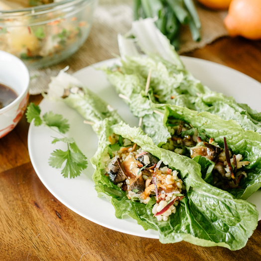 Minneola and Brown Rice Lettuce Wraps
