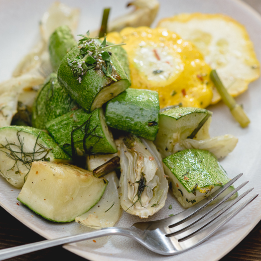 Roasted Summer Squash and Fennel with Thyme